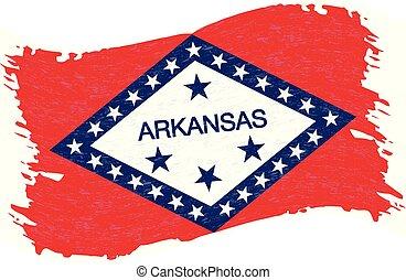 Flag of Arkansas. Grunge Abstract Brush Stroke Isolated On A White Background. Vector Illustration.