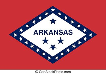 Flag of Arkansas in correct size and color, vector