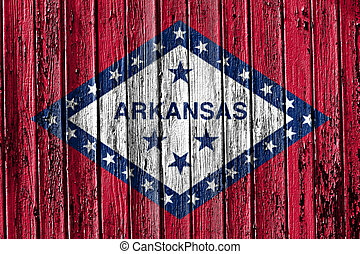 flag of Arkansas painted on wooden frame