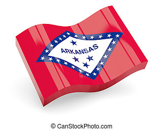 Flag of arkansas, US state wave icon