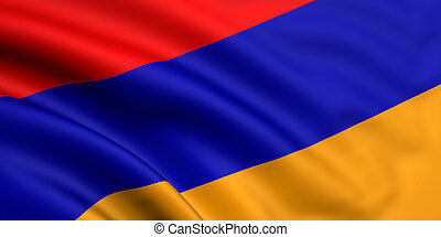 3d rendered and waving flag of armenia