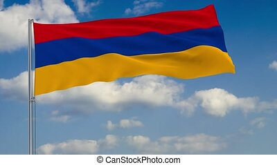 Flag of Armenia against background of clouds sky