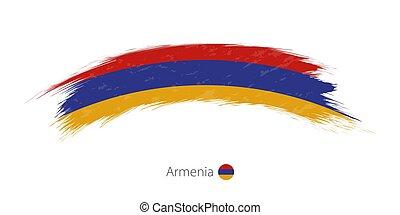 Flag of Armenia in rounded grunge brush stroke. Vector illustration.
