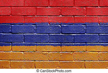 Flag of Armenia on brick wall - Flag of Armenia painted onto...