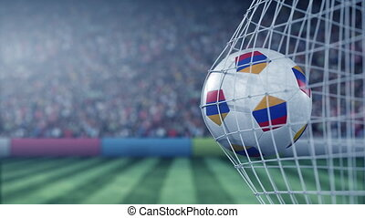 Flag of Armenia on the football hitting goal net back. Realistic slow motion 3D animation