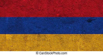 Flag of Armenia on weathered concrete