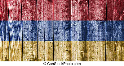 Flag of Armenia on weathered wood