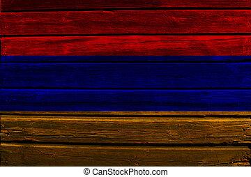 Flag of Armenia on wood