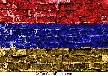 Flag of Armenia painted on brick wall