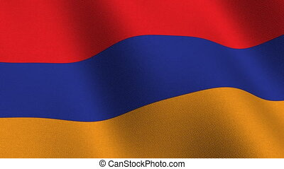 Flag of Armenia, seamless loop - Flag of Armenia waving in...