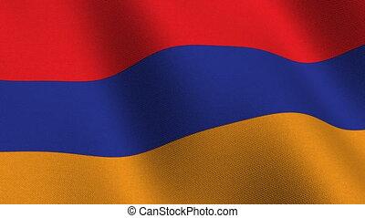 Flag of Armenia, seamless loop - Flag of Armenia waving in...