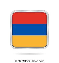 flag of Armenia, shiny metallic gray square button