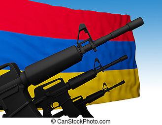 flag of armenia with guns