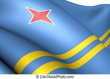 Flag of Aruba. Close up.