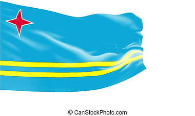 Flag of Aruba - Flag of the Aruba waving in the wind. ...