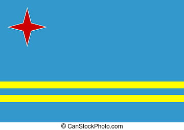 Flag of Aruba, national country symbol illustration