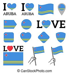 Flag of Aruba. Set of vector Flags.