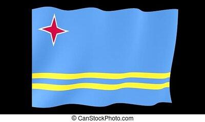 Flag of Aruba. Waving flag (PNG) computer animatie.