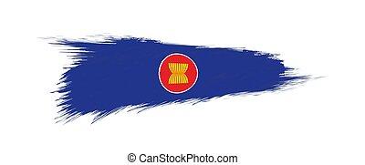 Flag of ASEAN in grunge brush stroke.