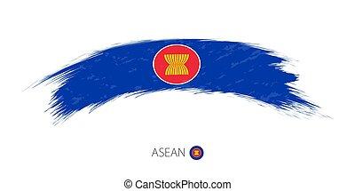 Flag of ASEAN in rounded grunge brush stroke.
