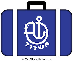 Flag of Ashdod, Israel. Suitcase icon, travel and transportation concept