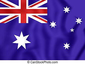 3D Flag of the Australia. Close Up.