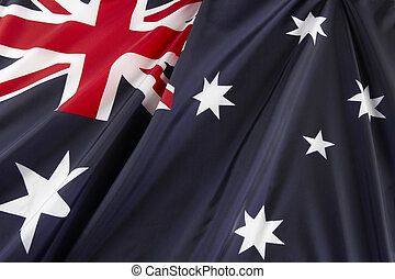 Close up shot of wavy Australian flag