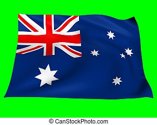 Flag of australia - Flag of australia blowing in the wind on...