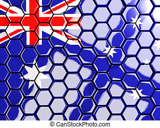 Flag of australia, hexagon mosaic background