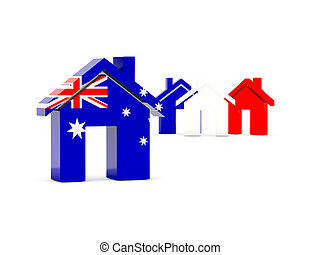 Flag of australia, home icon isolated on white. 3D ...