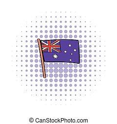 Flag of Australia icon in comics style