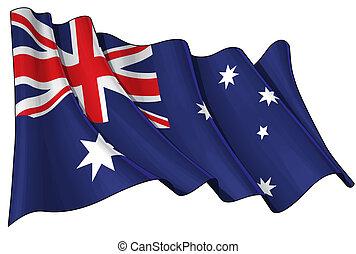 Flag of Australia - Illustration of a waving Australian flag...