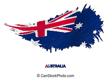 Flag of Australia in grunge style with waving effect.