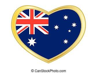 Flag of Australia in heart shape, golden frame