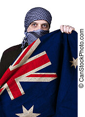 Flag of Australia in the hands of an Arab on a white...