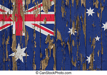 Flag of Australia on a weathered wooden wall