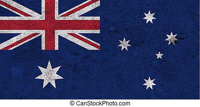 Flag of Australia on weathered concrete