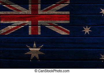 Flag of Australia on wood