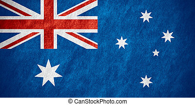 flag of Australia or Australian banner on canvas texture