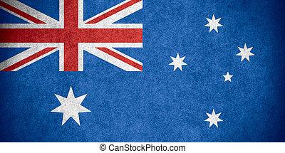 flag of Australia or Australian banner on paper rough...