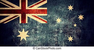 flag of Australia or Australian banner on rough pattern...