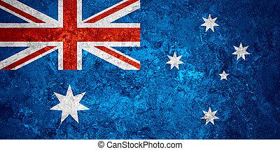 flag of Australia or Australian banner on vintage background