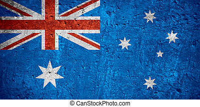 flag of Australia or Australian flag on scratched rough...