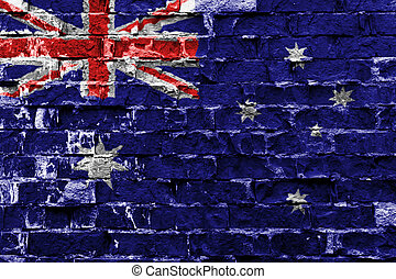 Flag of Australia painted on brick wall