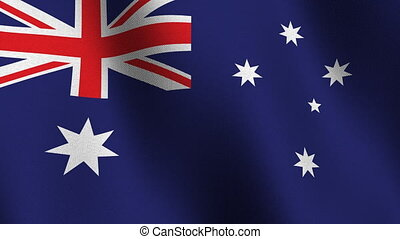Flag of Australia, seamless loop - Flag of Australia waving...