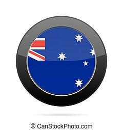 Flag of Australia. Shiny black round button.