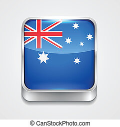 flag of australia - vector 3d style flag icon of australia
