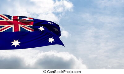 Flag of Australia waving