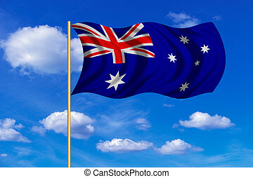 Flag of Australia waving on blue sky background