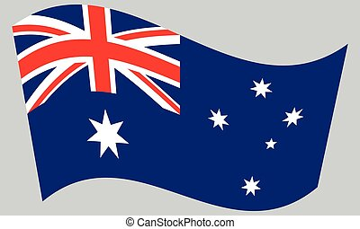 Flag of Australia waving on gray background